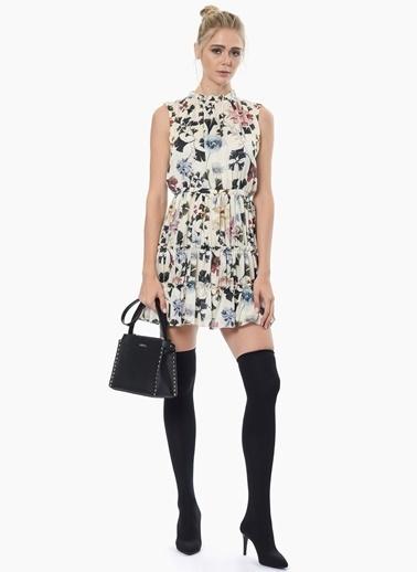 NetWork Desenli Mini Kloş Elbise Ekru
